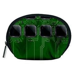 Green Circuit Board Pattern Accessory Pouches (medium)  by Nexatart