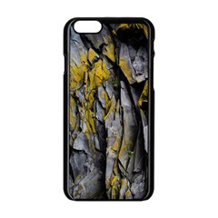 Grey Yellow Stone Apple Iphone 6/6s Black Enamel Case by Nexatart