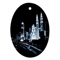 Kuala Lumpur Urban Night Building Oval Ornament (two Sides) by Nexatart