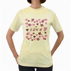 Love Valentine S Day 3d Fabric Women s Yellow T-shirt by Nexatart