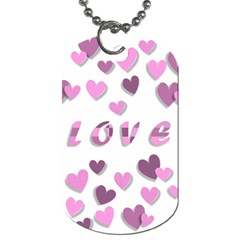 Love Valentine S Day 3d Fabric Dog Tag (one Side) by Nexatart