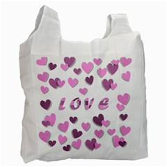 Love Valentine S Day 3d Fabric Recycle Bag (two Side)  by Nexatart