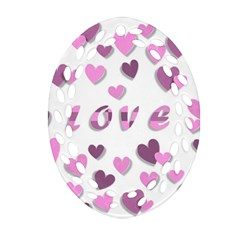 Love Valentine S Day 3d Fabric Oval Filigree Ornament (two Sides) by Nexatart