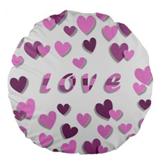 Love Valentine S Day 3d Fabric Large 18  Premium Round Cushions by Nexatart