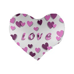 Love Valentine S Day 3d Fabric Standard 16  Premium Heart Shape Cushions by Nexatart