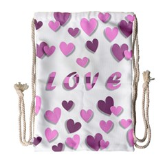 Love Valentine S Day 3d Fabric Drawstring Bag (large) by Nexatart