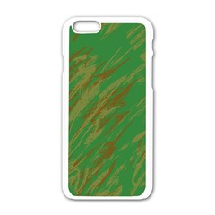 Brown Green Texture                                                 			apple Iphone 6/6s White Enamel Case by LalyLauraFLM