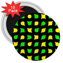 Yellow Green Shapes                                                     			3  Magnet (10 Pack) by LalyLauraFLM
