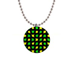 Yellow Green Shapes                                                     			1  Button Necklace by LalyLauraFLM