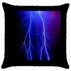 Lightning Electricity Elements Danger Night Lines Patterns Ultra Throw Pillow Case (black)