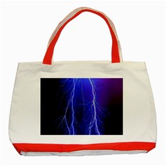 Lightning Electricity Elements Danger Night Lines Patterns Ultra Classic Tote Bag (red) by Jojostore