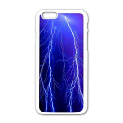 Lightning Electricity Elements Danger Night Lines Patterns Ultra Apple Iphone 6/6s White Enamel Case