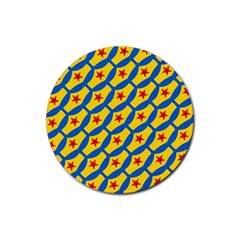 Images Album Heart Frame Star Yellow Blue Red Rubber Round Coaster (4 Pack)