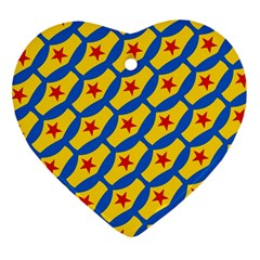 Images Album Heart Frame Star Yellow Blue Red Heart Ornament (two Sides)