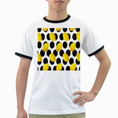 Orange Lime Fruit Yellow Hole Ringer T-shirts by Jojostore