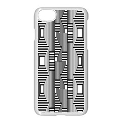 Line Hole Plaid Pattern Apple Iphone 7 Seamless Case (white)