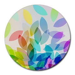 Leaf Rainbow Color Round Mousepads by Jojostore