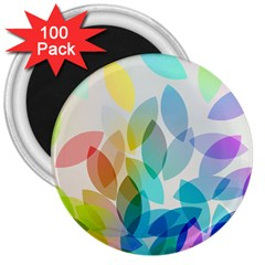Leaf Rainbow Color 3  Magnets (100 Pack)