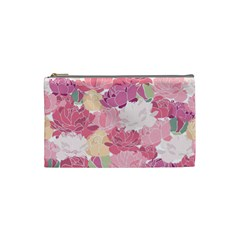 Peonies Flower Floral Roes Pink Flowering Cosmetic Bag (small)