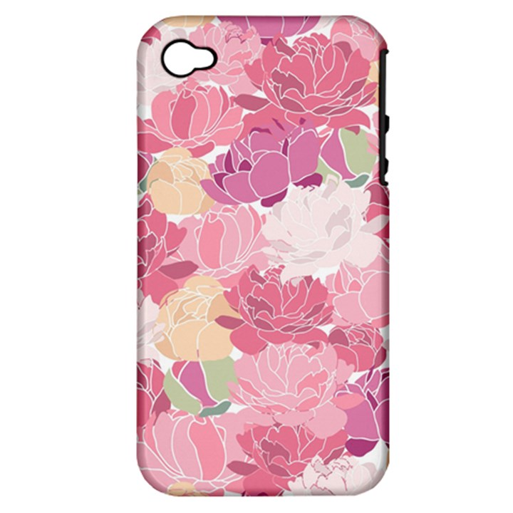Peonies Flower Floral Roes Pink Flowering Apple iPhone 4/4S Hardshell Case (PC+Silicone)