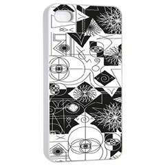 Point Line Plane Themed Original Design Apple Iphone 4/4s Seamless Case (white) by Jojostore