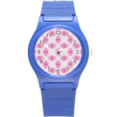 Peony Photo Repeat Floral Flower Rose Pink Round Plastic Sport Watch (s)