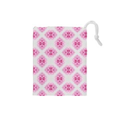 Peony Photo Repeat Floral Flower Rose Pink Drawstring Pouches (small)