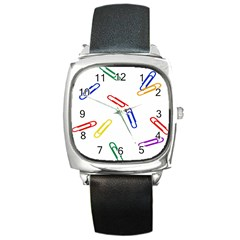 Scattered Colorful Paper Clips Square Metal Watch