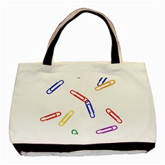 Scattered Colorful Paper Clips Basic Tote Bag by Jojostore