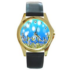 Pisces Underwater World Fairy Tale Round Gold Metal Watch by Nexatart