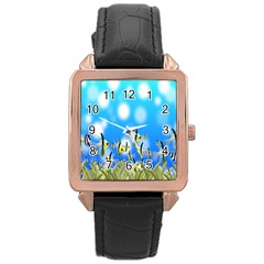 Pisces Underwater World Fairy Tale Rose Gold Leather Watch  by Nexatart