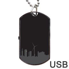 Windmild City Building Grey Dog Tag Usb Flash (one Side)