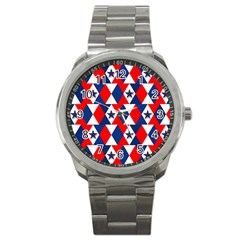 Patriotic Red White Blue 3d Stars Sport Metal Watch