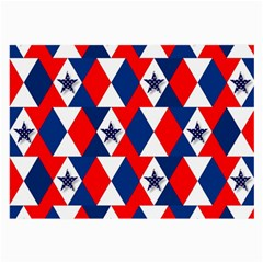 Patriotic Red White Blue 3d Stars Large Glasses Cloth
