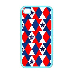 Patriotic Red White Blue 3d Stars Apple Iphone 4 Case (color) by Nexatart