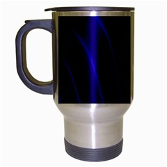 Sparkly Design Blue Wave Abstract Travel Mug (silver Gray)