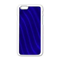 Sparkly Design Blue Wave Abstract Apple Iphone 6/6s White Enamel Case