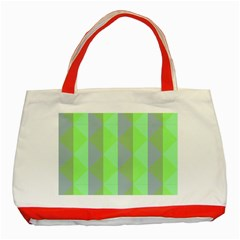 Squares Triangel Green Yellow Blue Classic Tote Bag (red)