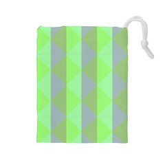 Squares Triangel Green Yellow Blue Drawstring Pouches (large)