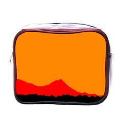 Sunset Orange Simple Minimalis Orange Montain Mini Toiletries Bags