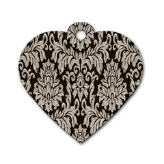 Wild Textures Damask Wall Cover Dog Tag Heart (one Side)