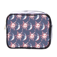 Sunmoon Blue Illustration Moon Orange Red Sun Mini Toiletries Bags