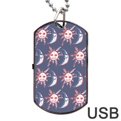 Sunmoon Blue Illustration Moon Orange Red Sun Dog Tag Usb Flash (one Side) by Jojostore