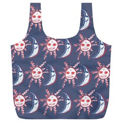 Sunmoon Blue Illustration Moon Orange Red Sun Full Print Recycle Bags (l)
