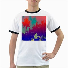 Tropical Coconut Tree Ringer T-shirts by Jojostore