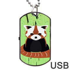 Red Panda Bamboo Firefox Animal Dog Tag Usb Flash (two Sides)