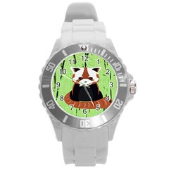 Red Panda Bamboo Firefox Animal Round Plastic Sport Watch (l)
