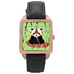 Red Panda Bamboo Firefox Animal Rose Gold Leather Watch