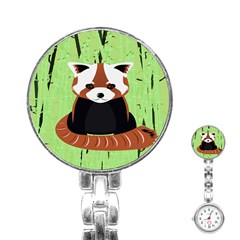 Red Panda Bamboo Firefox Animal Stainless Steel Nurses Watch