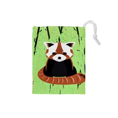 Red Panda Bamboo Firefox Animal Drawstring Pouches (small)